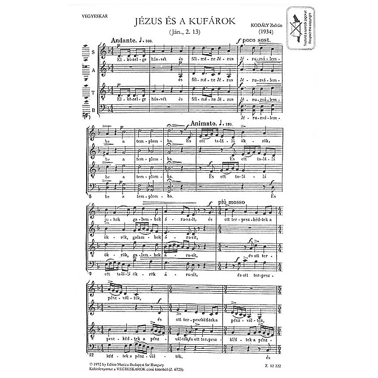 Editio Musica BudapestJézus És A Kufárok (Jesus and the Traders) Composed by Zoltán Kodály