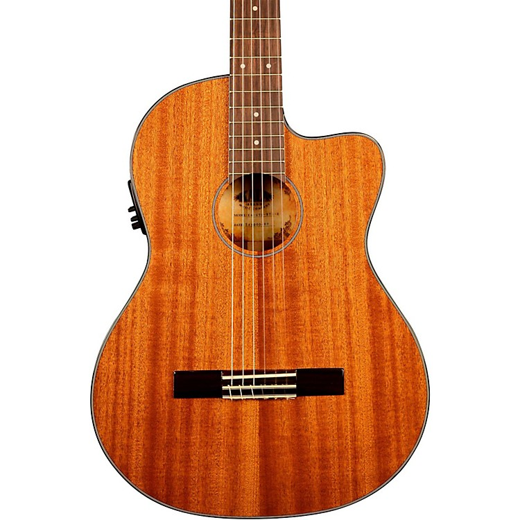 Kala KA-GTR-MTN-E Thinline Mahogany Nylon String Acoustic-Electric Guitar Natural