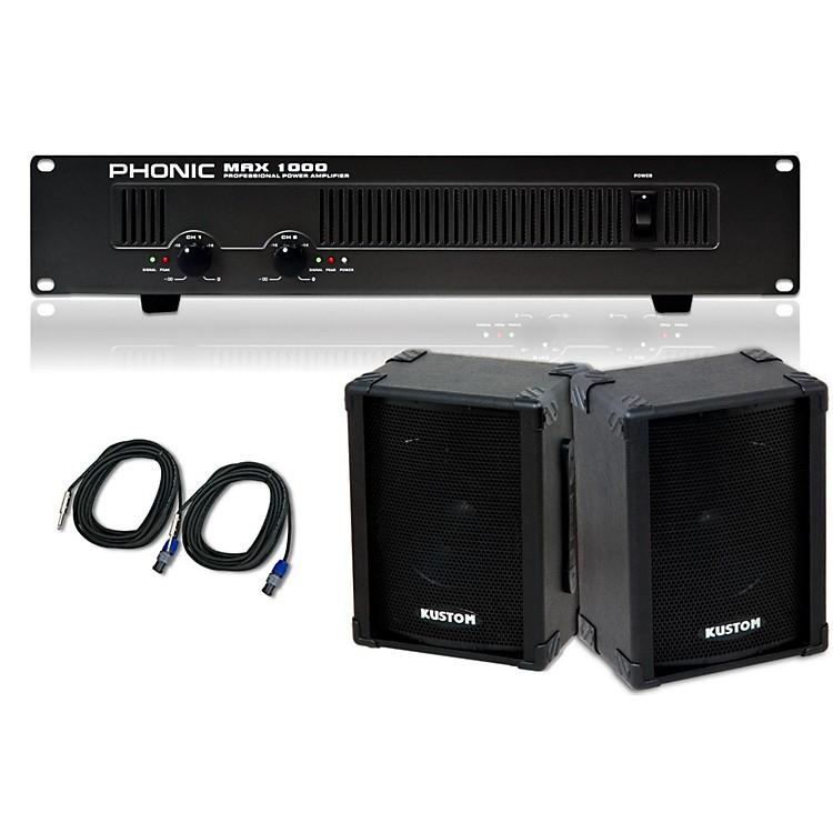 Kustom PAKPC10 / Phonic MAX 1000 Spkr & Amp Package
