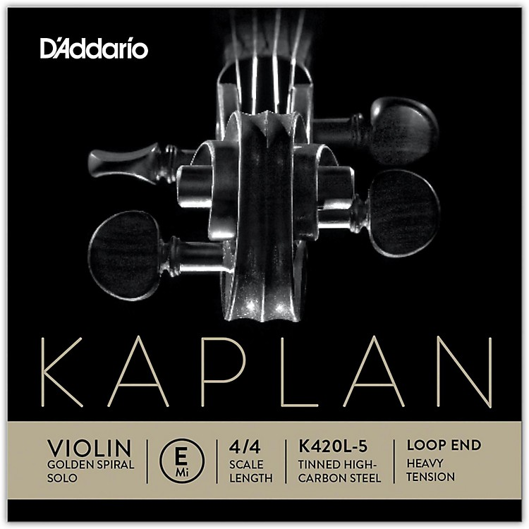 D'Addario Kaplan Golden Spiral Solo Series Violin E String 4/4 Size Solid Steel Heavy Loop End