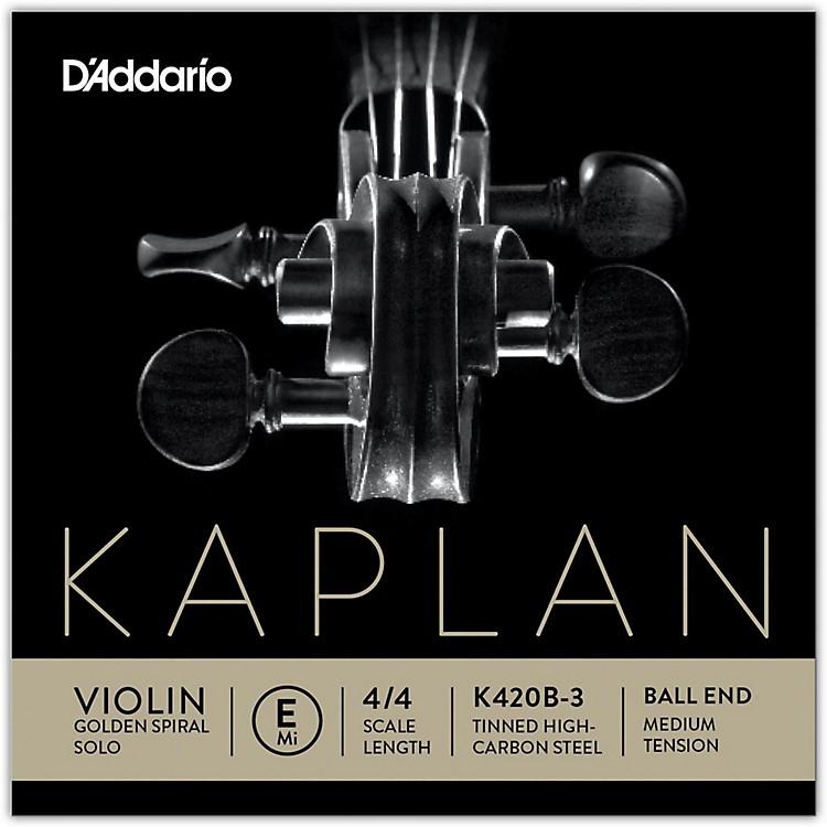 D'AddarioKaplan Golden Spiral Solo Series Violin E String4/4 Size Solid SteelMedium Ball End