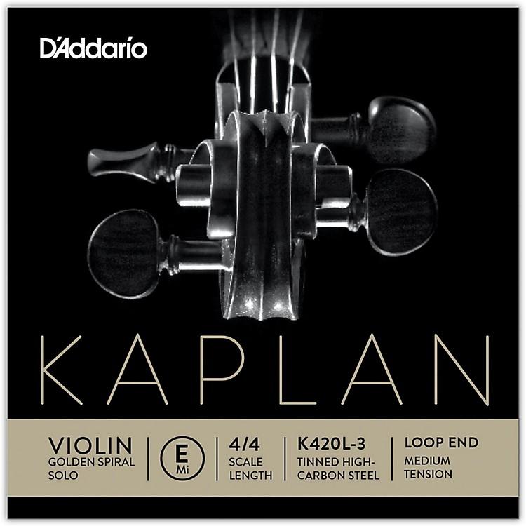 D'AddarioKaplan Golden Spiral Solo Series Violin E String4/4 Size Solid SteelMedium Loop End