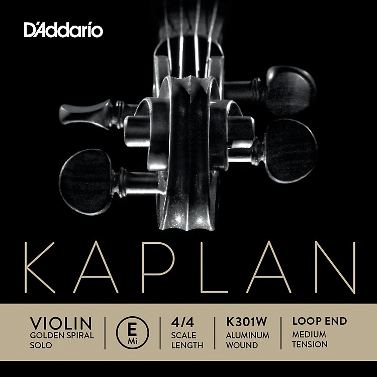D'Addario Kaplan Golden Spiral Solo Wound Series Violin E String 4/4 Size Solid Steel / Aluminum Medium Loop End