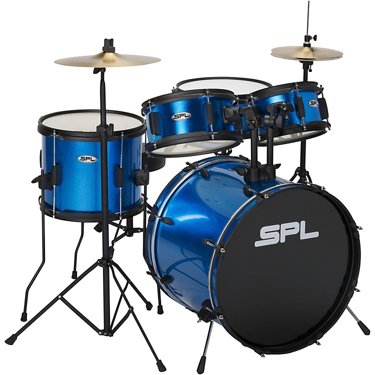 Sound Percussion LabsKicker Pro - 5 Piece Drum Set with Stands, Cymbals, and ThroneMetallic Liquid Blue
