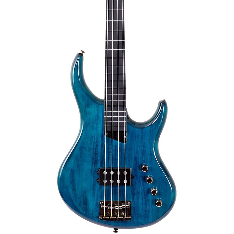 MTD Kingston Artist Fretless Bass Guitar Transparent Blue Ebonol