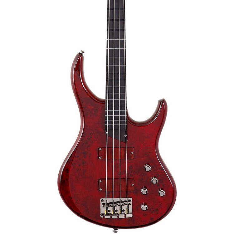 MTDKingston KZ Fretless Electric Bass GuitarTransparent CherryEbonol