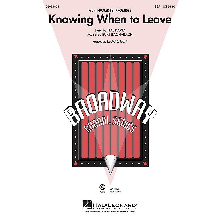 Hal LeonardKnowing When to Leave (from Promises, Promises) ShowTrax CD Arranged by Mac Huff