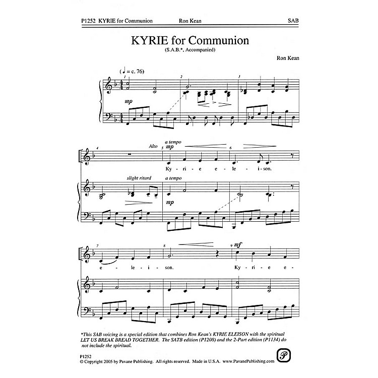 PavaneKyrie for Communion SAB composed by Ron Kean