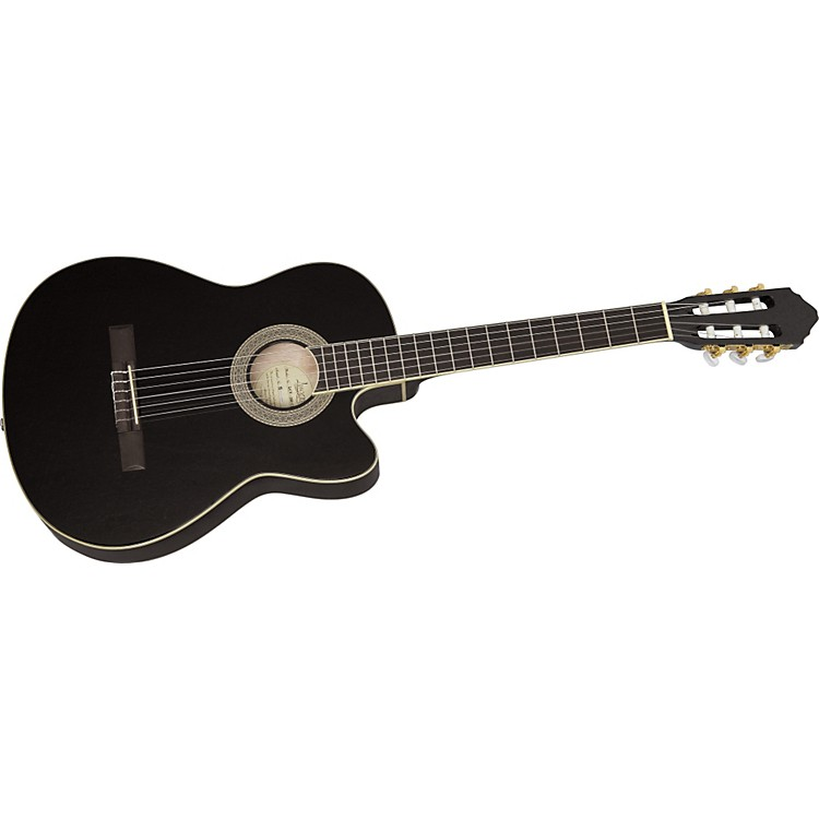 Lucero LCT250CE Thinline Cutaway Acoustic-Electric Classical Guitar Black