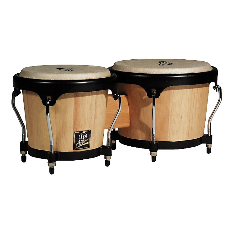 LP LPA601 Aspire Oak Bongos with Black Hardware Dark Wood