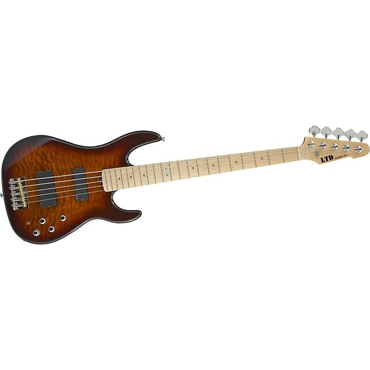 ESPLTD Surveyor-405 Quilted Maple 5-String Bass GuitarDark-Brown Sunburst
