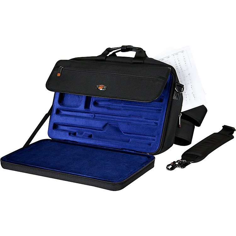 ProtecLUX Flute and Piccolo Case with Sheet Music Messenger BagBlack