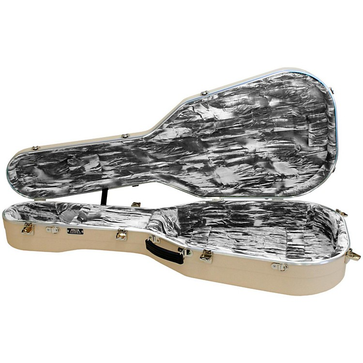 Hiscox Cases Lifeflite Artist Acoustic Guitar Case - Ivory Shell/Silver Interior