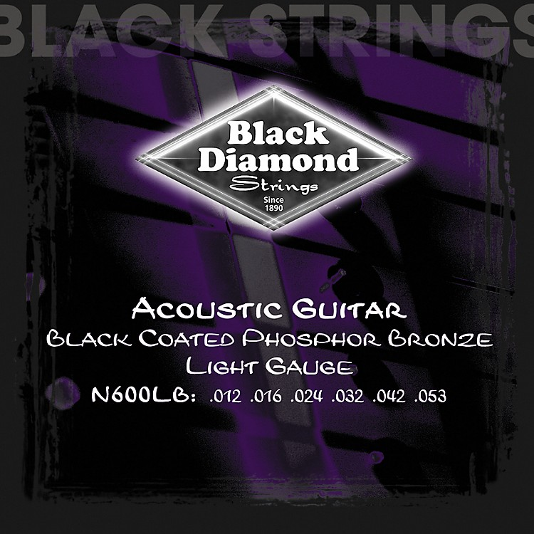 Black Diamond Light Gauge Black Coated Phosphor Bronze Acoustic Guitar Strings