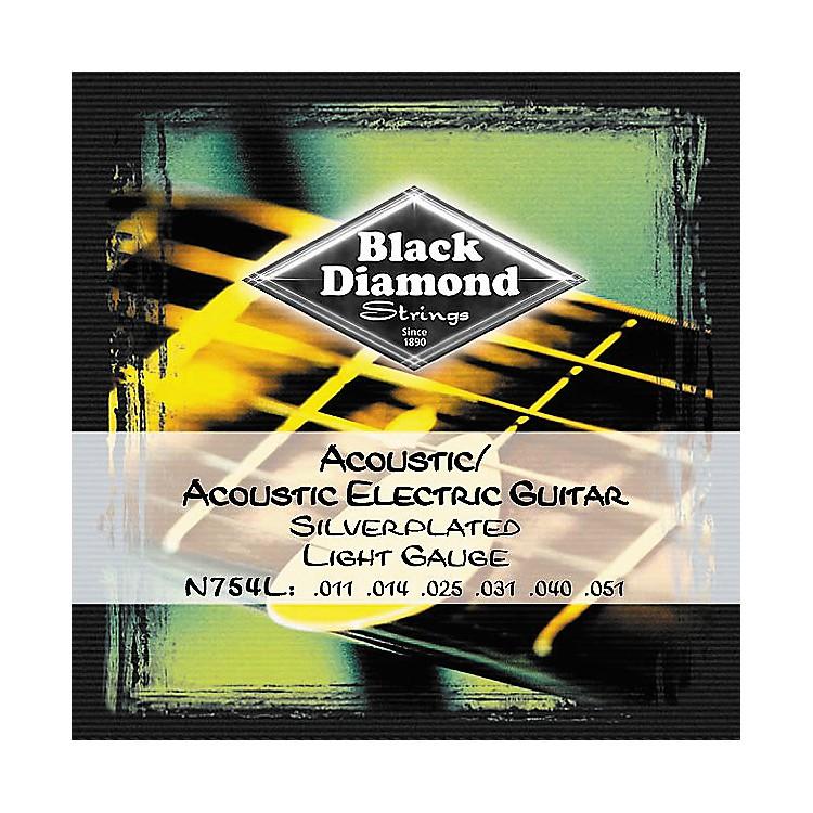 Black DiamondLight Gauge Silver-Plated Acoustic-Electric Guitar Strings