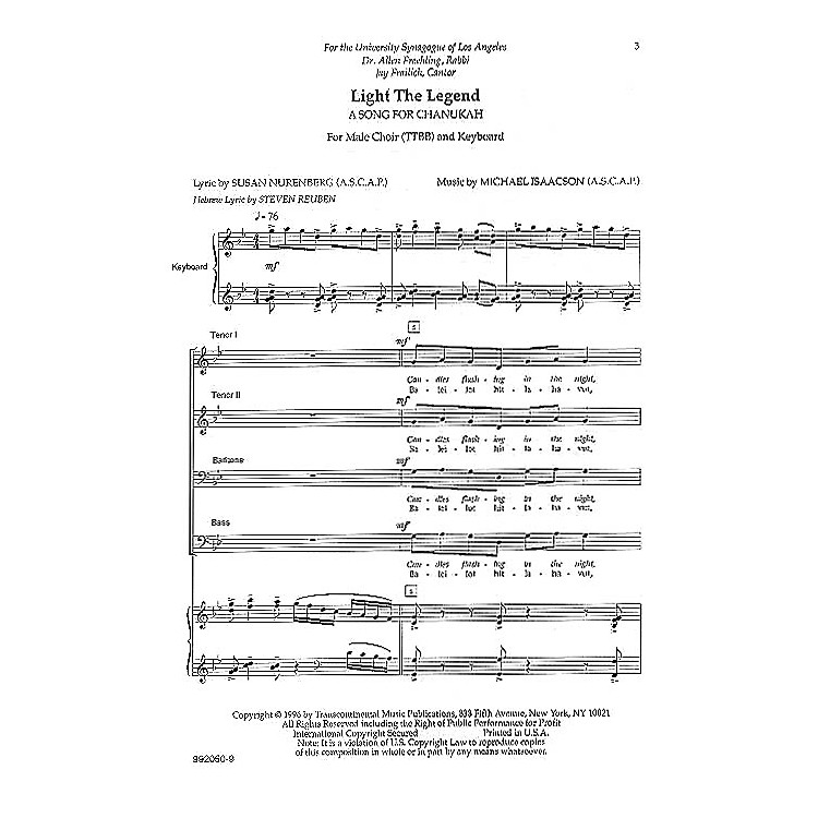 Transcontinental MusicLight the Legend TTBB composed by Michael Isaacson