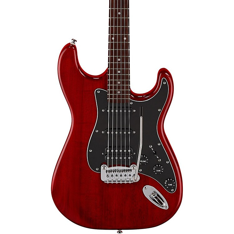 G&L Limited Edition Tribute Legacy HSS Painted Headcap Electric Guitar Transparent Red 888365901527