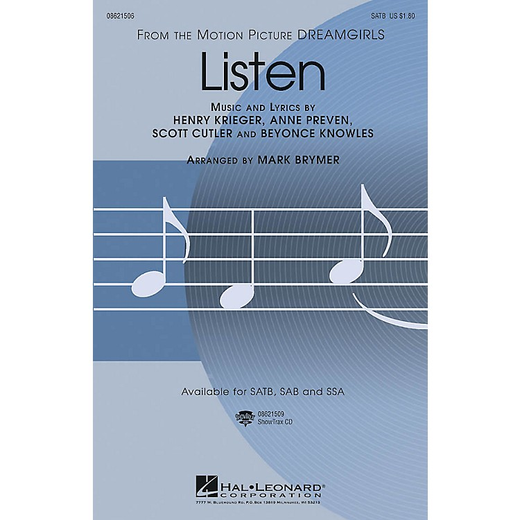 Hal Leonard Listen (from Dreamgirls) ShowTrax CD Arranged by Mark Brymer
