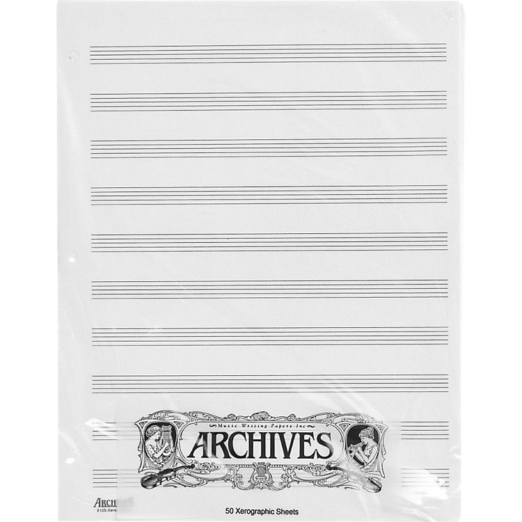 ArchivesLoose Leaf Manuscript Paper10 Stave 50 Xerographic Sheets