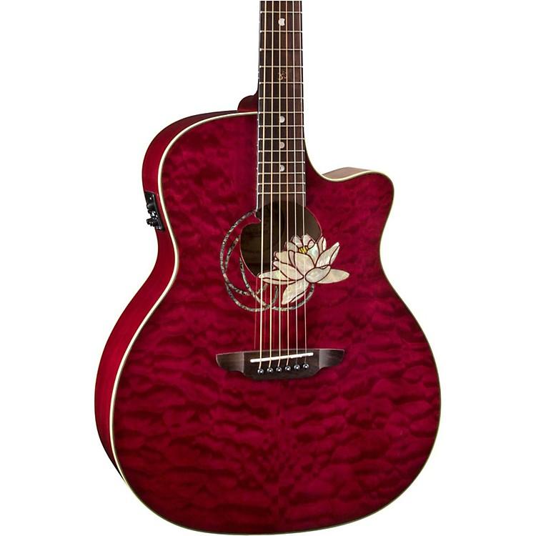 Luna GuitarsLotus Quilted Maple Acoustic-Electric GuitarTransparent Shiraz