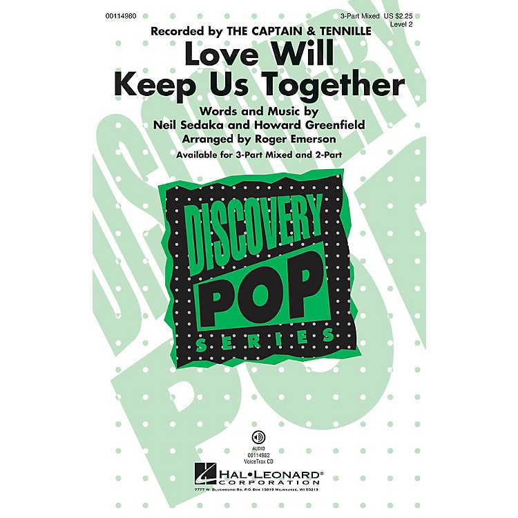 Hal Leonard Love Will Keep Us Together 2-Part by The Captain & Tennille Arranged by Roger Emerson