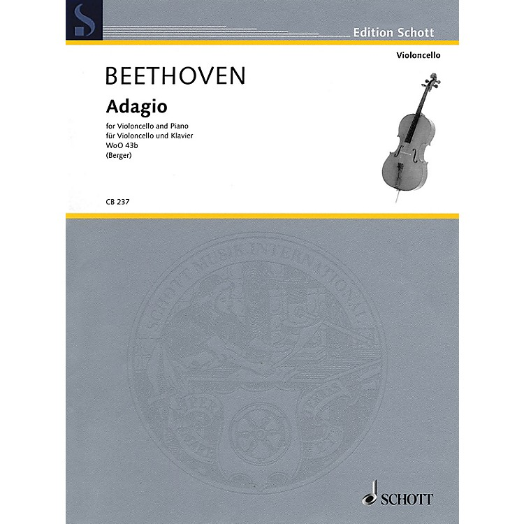 SchottLudwig van Beethoven - Adagio WoO 43b (Cello and Piano) String Series Softcover