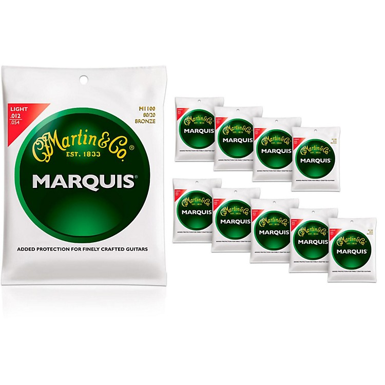 MartinM1100 Marquis 80/20 Bronze Light 10-Pack Acoustic Guitar Strings