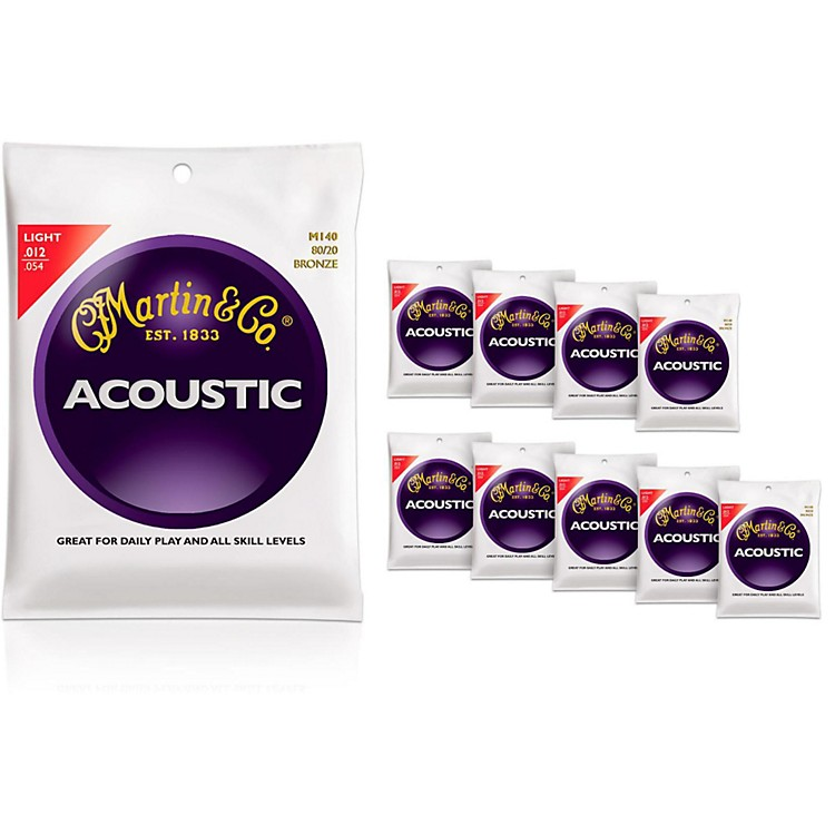 MartinM140 80/20 Bronze Light 10-Pack Acoustic Guitar Strings