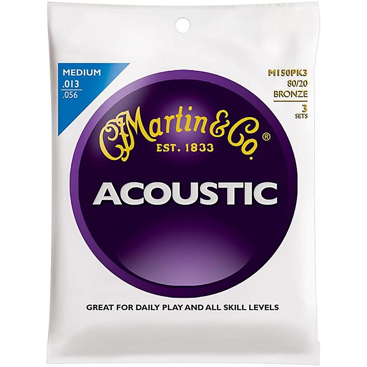 MartinM150 80/20 Bronze Medium 3-Pack Acoustic Guitar Strings
