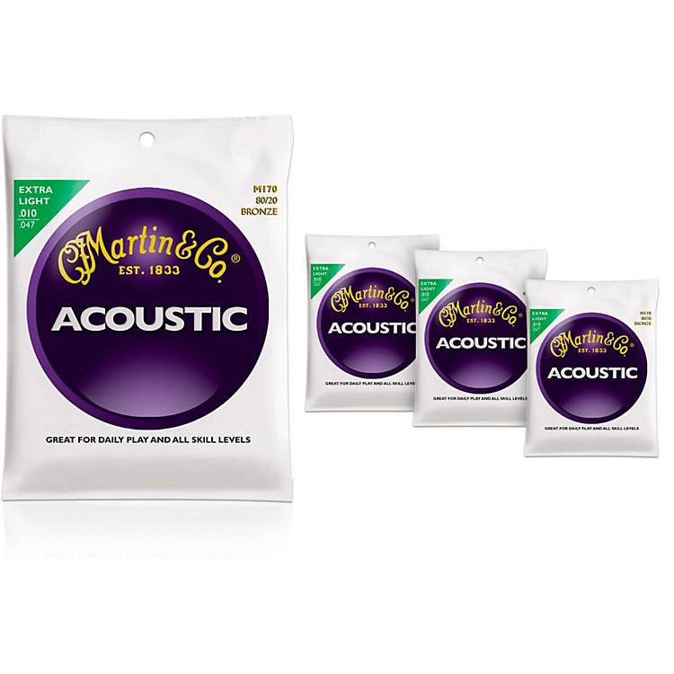 MartinM170 80/20 Bronze Round Wound Extra Light Acoustic Guitar Strings - 4 Pack
