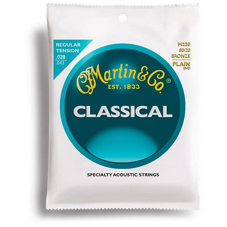 MartinM220 80/20 Bronze Plain-End Regular Tension Nylon Classic Guitar Strings