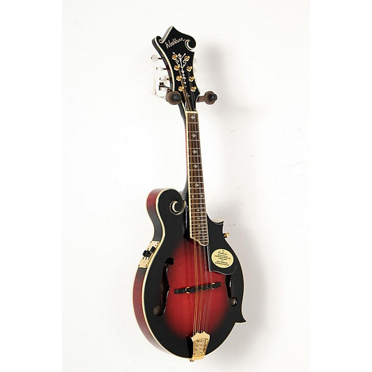 Washburn M3SWE F-Style Acoustic-Electric Mandolin with Case Transparent Wine Red 888365842721