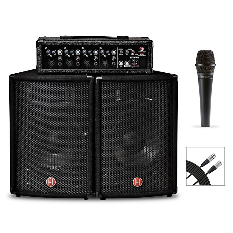 HarbingerM60 60-Watt, 4-Channel Compact Portable PA With Mic and Cable Bundle