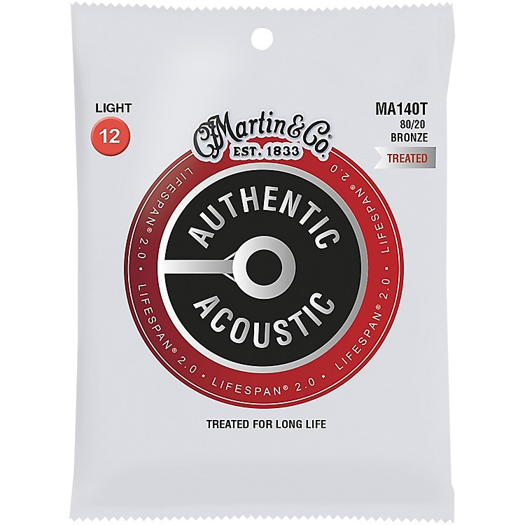 MartinMA140T Lifespan 2.0 80/20 Bronze Light Authentic Acoustic Guitar Strings