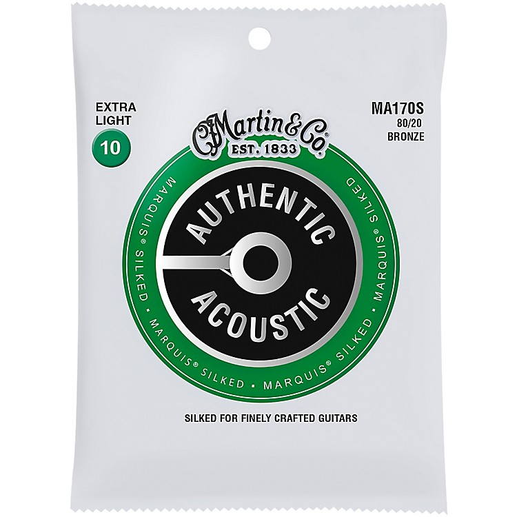 MartinMA170S Marquis 80/20 Bronze Extra-Light Authentic Acoustic Silked Guitar Strings