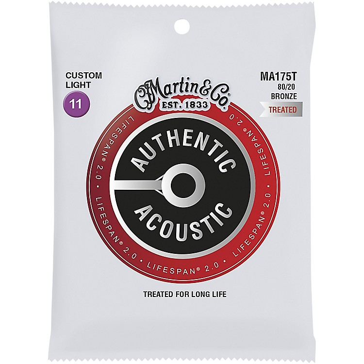 Martin MA175T Lifespan 2.0 80/20 Bronze Custom-Light Authentic Acoustic Guitar Strings