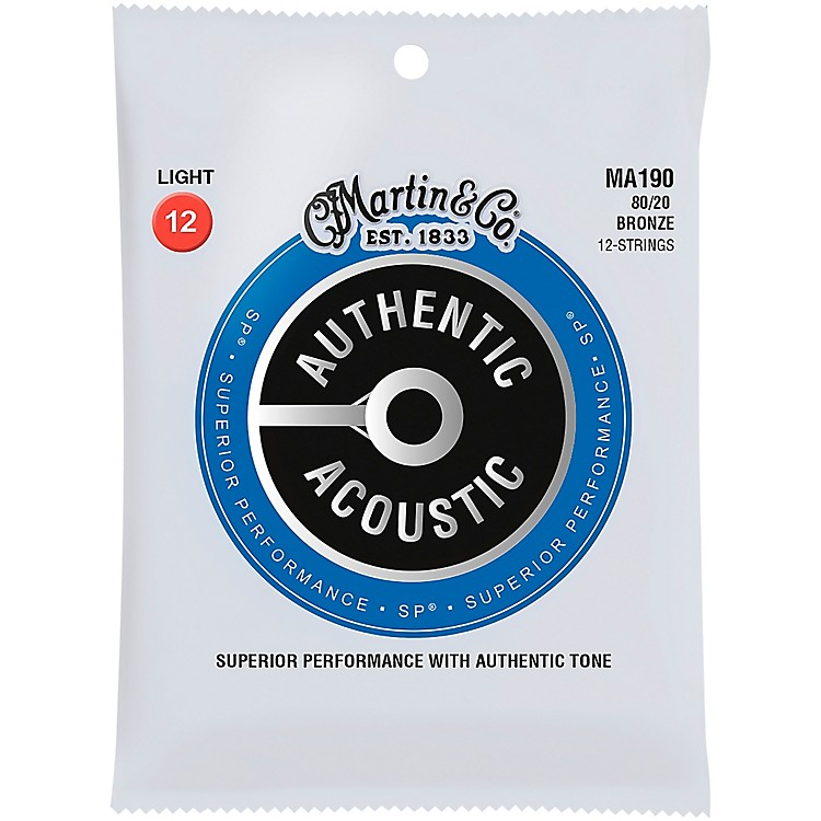 MartinMA190 SP 12-String 80/20 Bronze Light Authentic Acoustic Guitar Strings