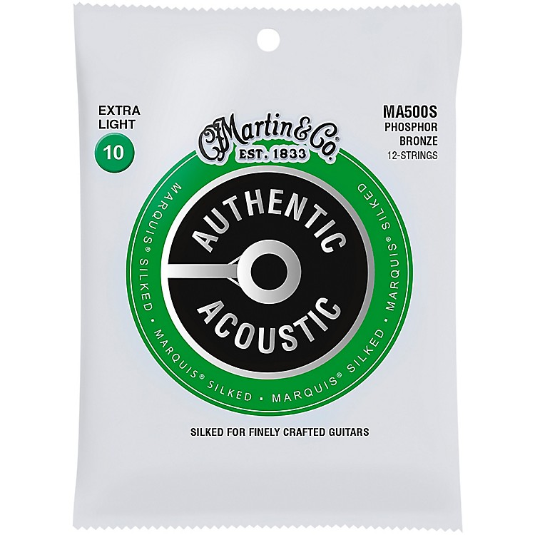 MartinMA500S Marquis 12-String Phosphor Bronze Extra-Light Authentic Silked Acoustic Guitar Strings