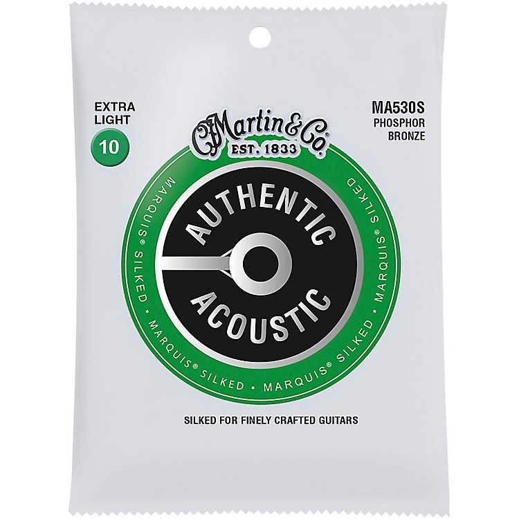 MartinMA530S Marquis Phosphor Bronze Extra-Light Authentic Acoustic Silked Guitar Strings