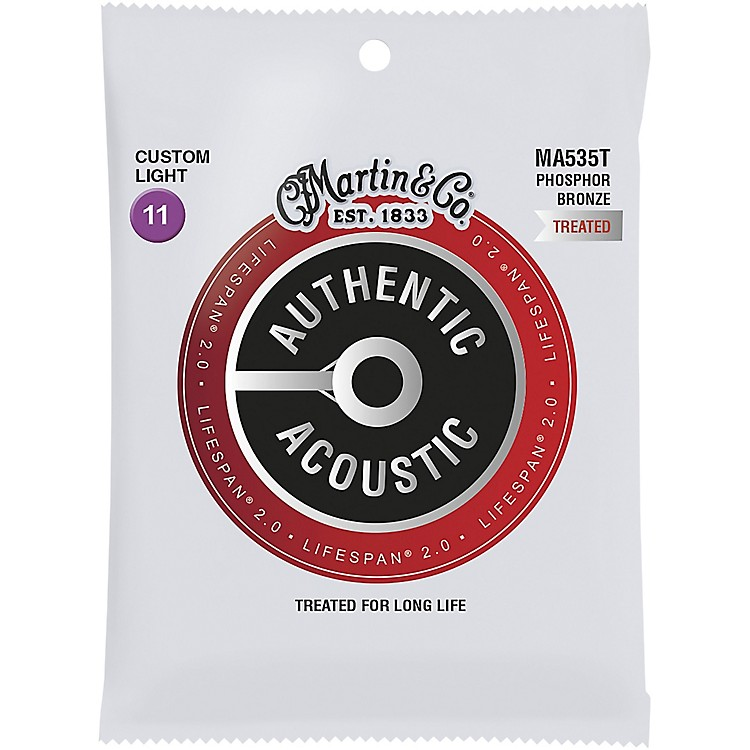 MartinMA535T Lifespan 2.0 Phosphor Bronze Custom-Light Authentic Acoustic Guitar Strings