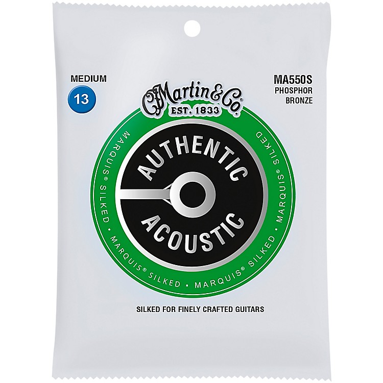 MartinMA550S Marquis Phosphor Bronze Medium Authentic Silked Acoustic Guitar Strings