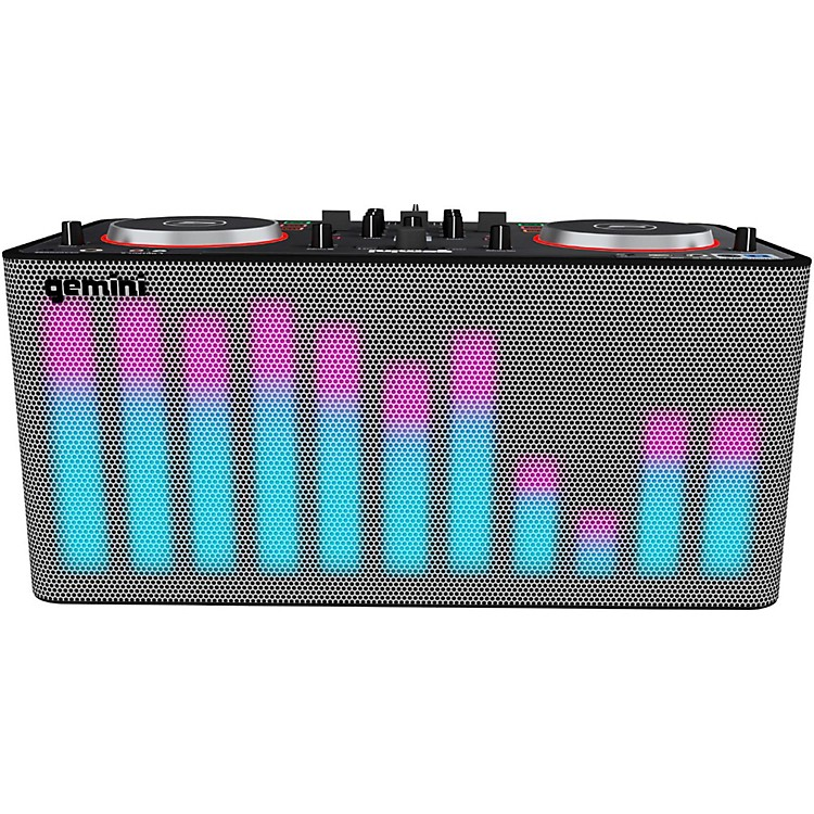 GeminiMIX2GO PRO Portable DJ Mixer with Built-in Speakers and LED Light Show