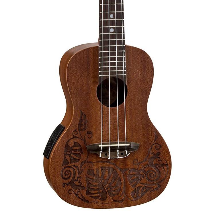 Luna Guitars MO EL Concert Acoustic-Electric Ukulele Lizard Design