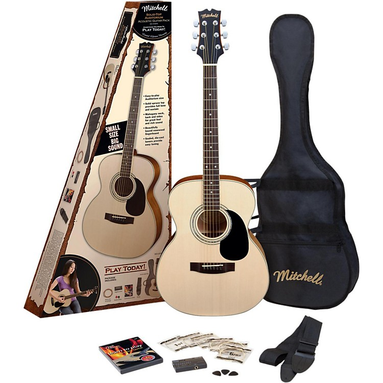 Mitchell MO100SPK Folk Acoustic Guitar Pack Natural 888365819792