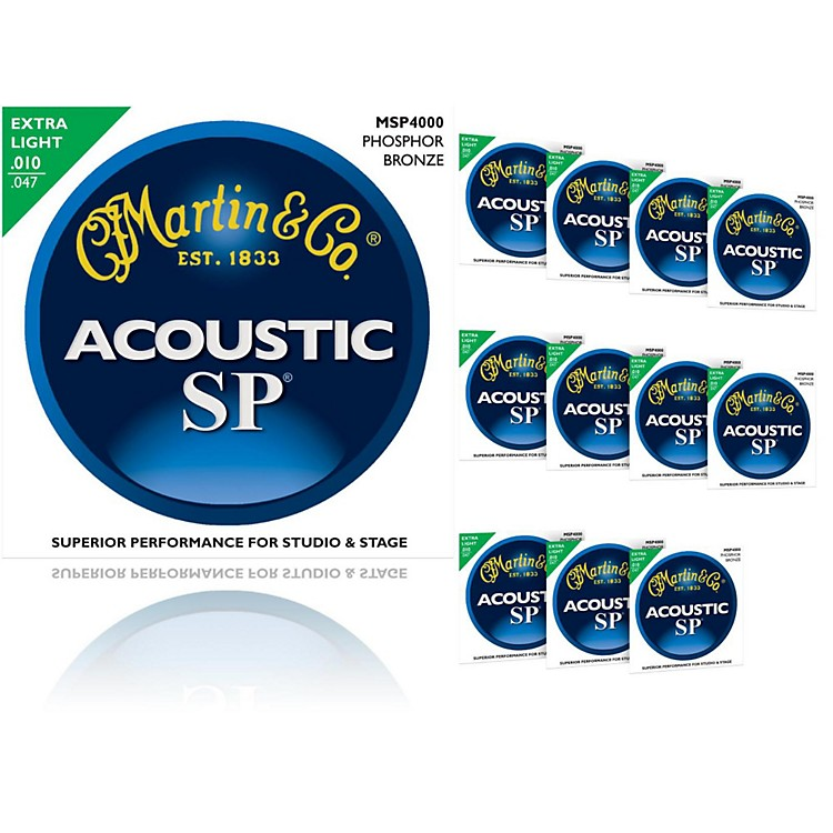 MartinMSP4000 SP Phosphor Bronze Extra Light 12-Pack Acoustic Guitar Strings