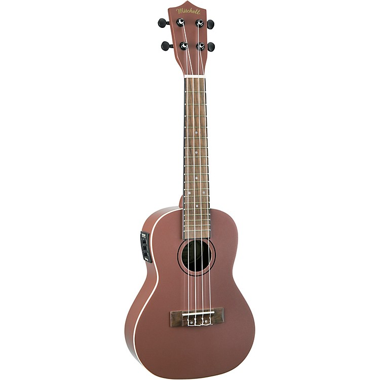 MitchellMU50SE Acoustic-Electric Concert Ukulele With Solid Cedar TopRose Gold