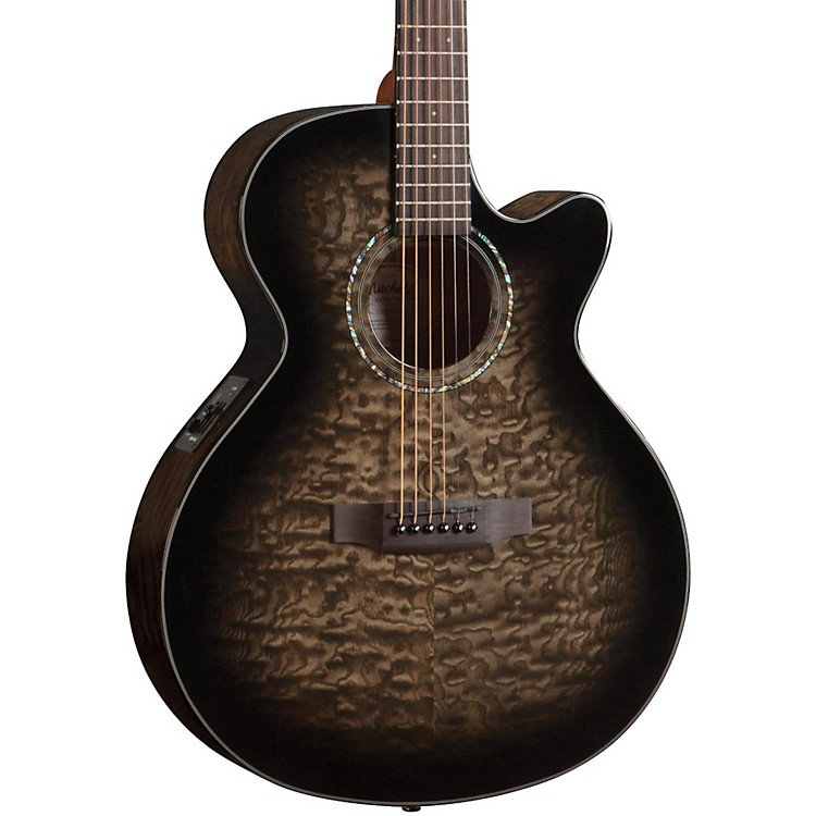 Mitchell MX420 Grand Auditorium Acoustic-Electric Guitar Midnight Black Finish