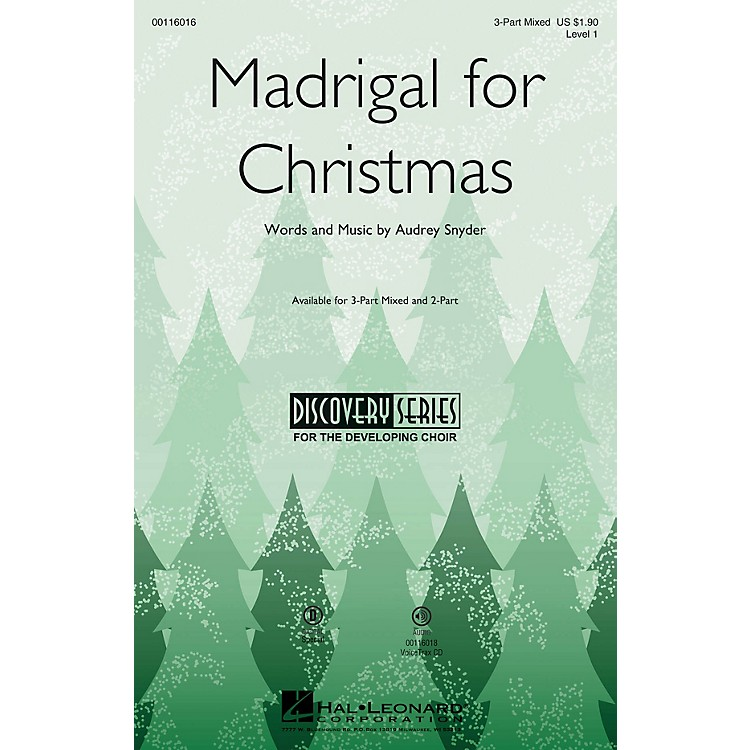 Hal Leonard Madrigal for Christmas (Discovery Level 1) 2-Part Composed by Audrey Snyder