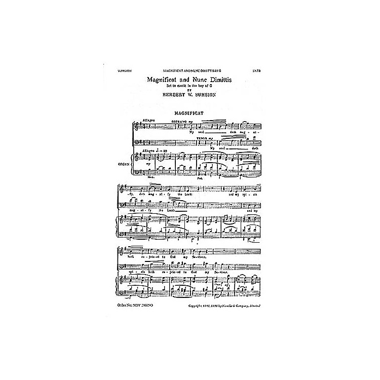 NovelloMagnificat and Nunc Dimittis in G SATB Composed by Herbert Sumsion