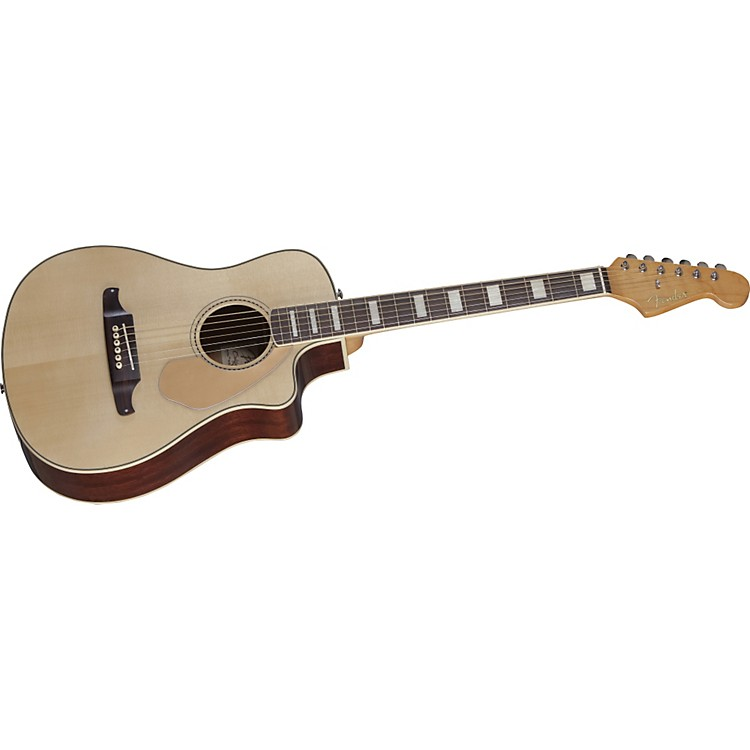 Fender Malibu SCE Solid Top Cutaway Acoustic-Electric Guitar Natural